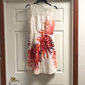 Floral and White Dress with Crocheted Top
